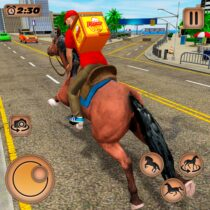 Mounted Horse Riding Pizza Guy: Food Delivery Game  APK MOD (Unlimited Money) Download for android